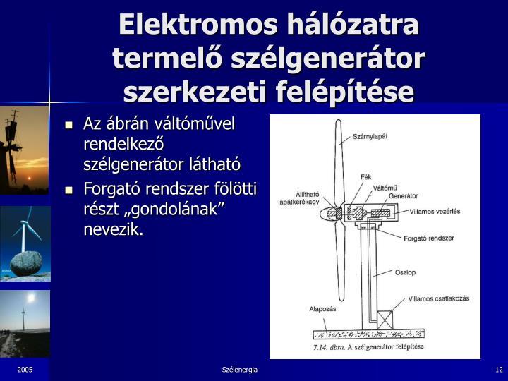 Elektromos hálózatra termelő szélgenerátor szerkezeti felépítése