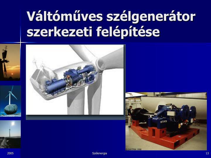 Váltóműves szélgenerátor szerkezeti felépítése
