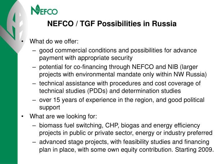 NEFCO / TGF Possibilities in Russia