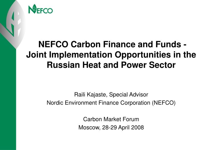 NEFCO Carbon Finance and Funds -