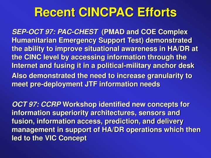 Recent CINCPAC Efforts