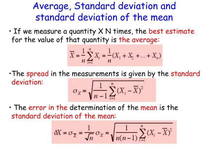 Average, Standard deviation and