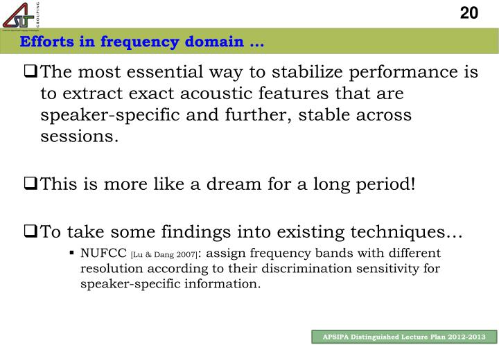 Efforts in frequency domain …