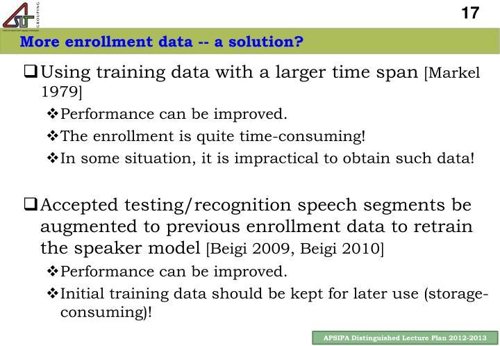 More enrollment data -- a solution?