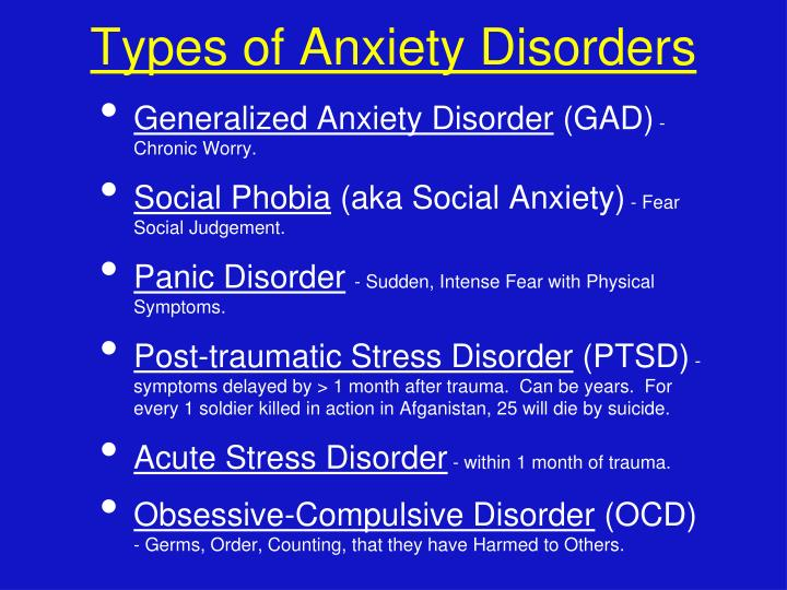 Types of Anxiety Disorders