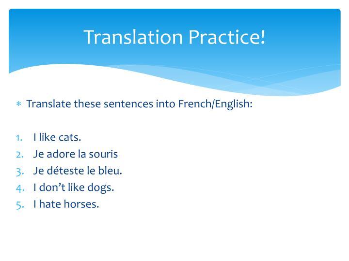 Translation Practice!