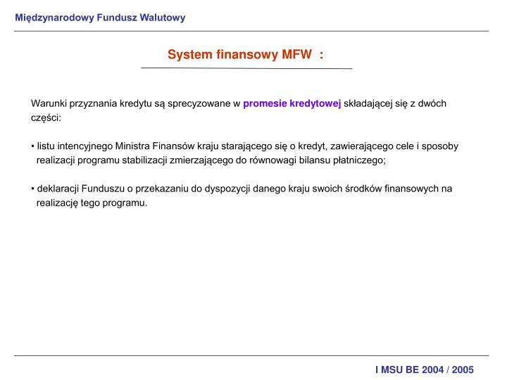 System finansowy MFW  :