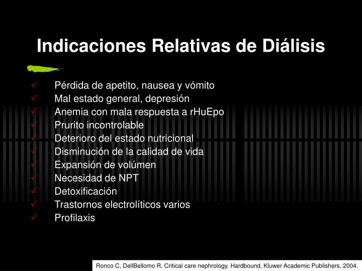 Indicaciones Relativas de Diálisis