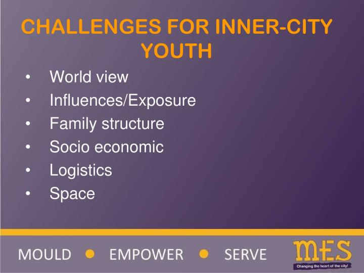 CHALLENGES FOR INNER-CITY YOUTH