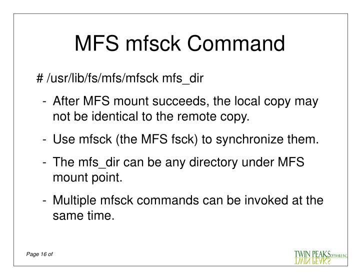 MFS mfsck Command