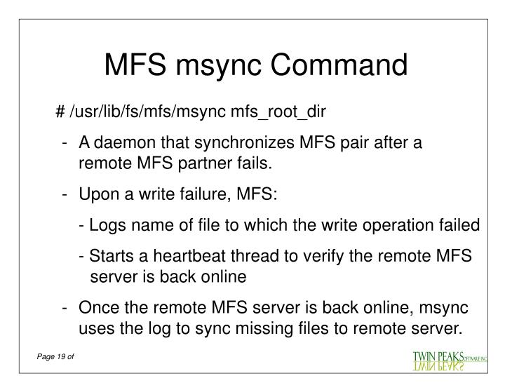 MFS msync Command