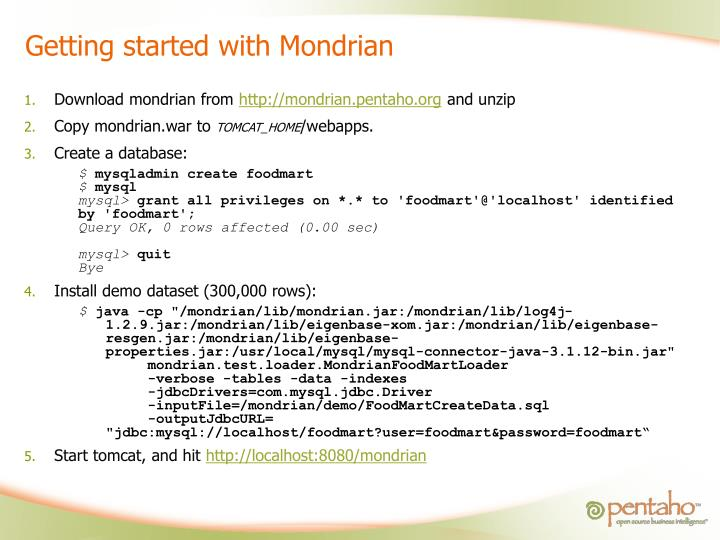 Getting started with Mondrian