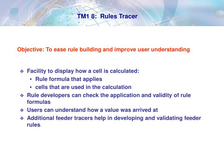 TM1 8:  Rules Tracer