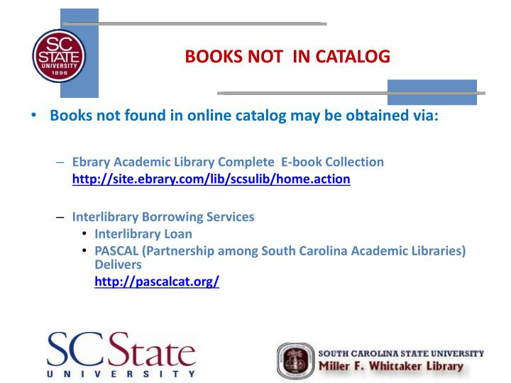 BOOKS NOT  IN CATALOG