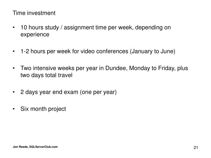 Time investment