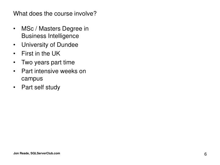 MSc / Masters Degree in Business Intelligence