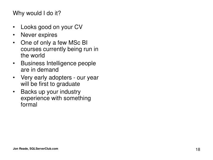 Looks good on your CV