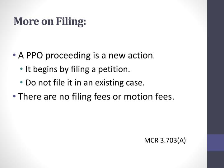 More on Filing: