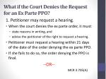 what if the court denies the request for an ex parte ppo