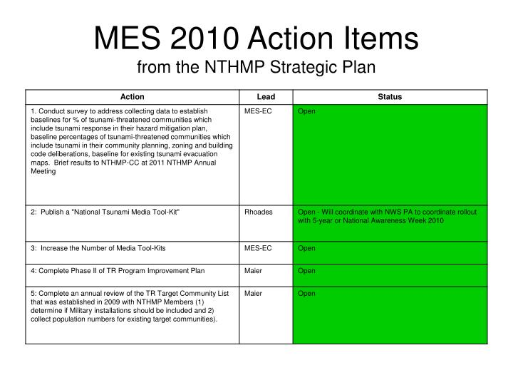 MES 2010 Action Items