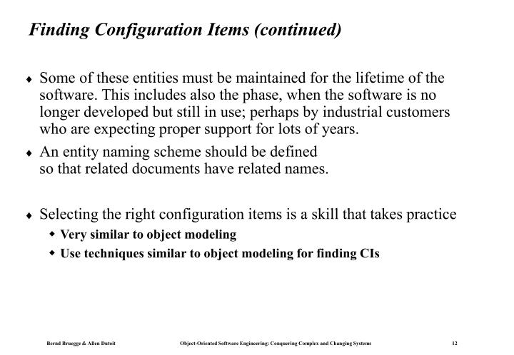 Finding Configuration Items (continued)