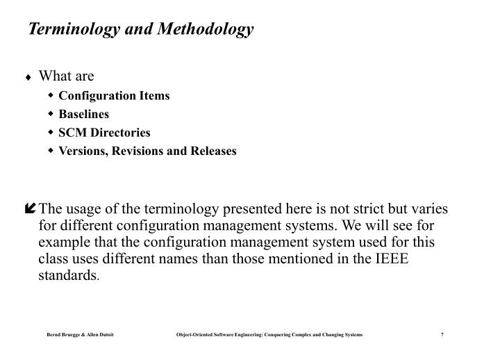 Terminology and Methodology