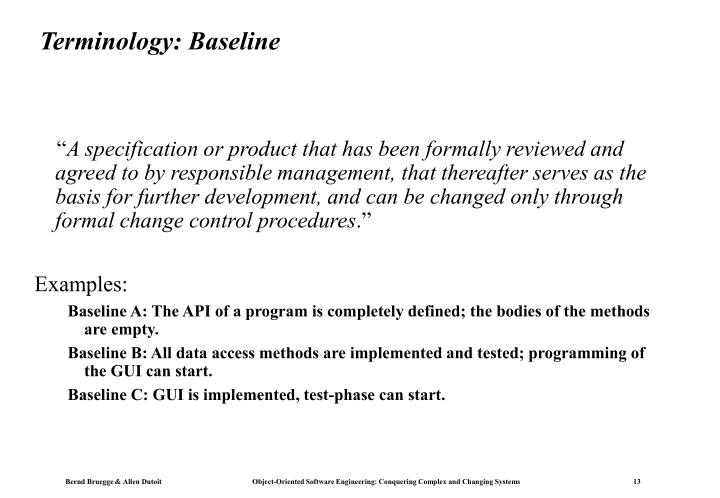 Terminology: Baseline