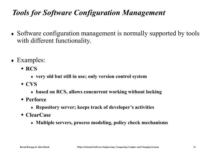 Tools for Software Configuration Management