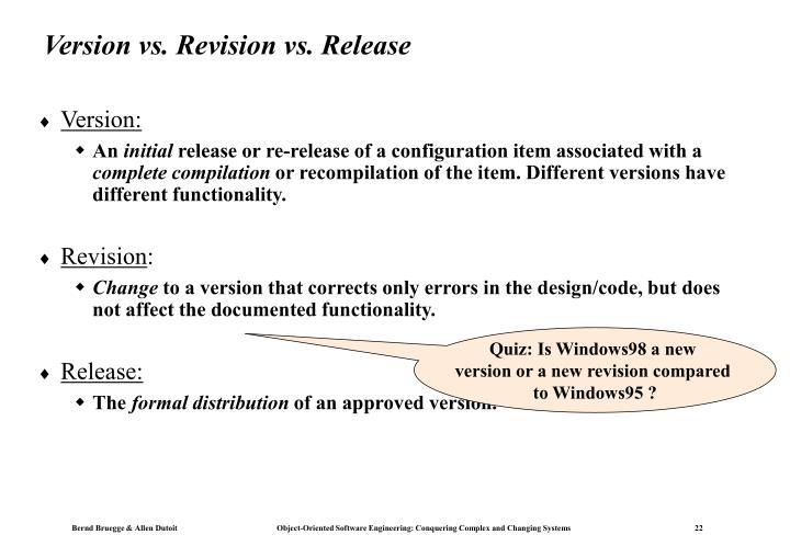 Version vs. Revision vs. Release