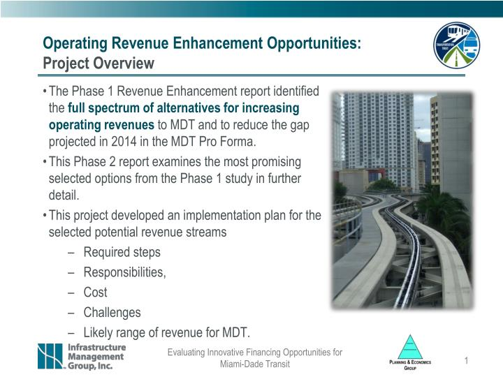 Operating revenue enhancement opportunities project overview
