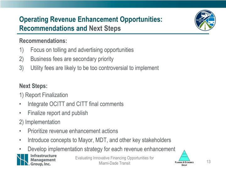 Operating Revenue Enhancement Opportunities: Recommendations and