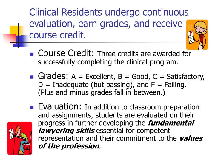 Clinical Residents undergo continuous evaluation, earn grades, and receive course credit.
