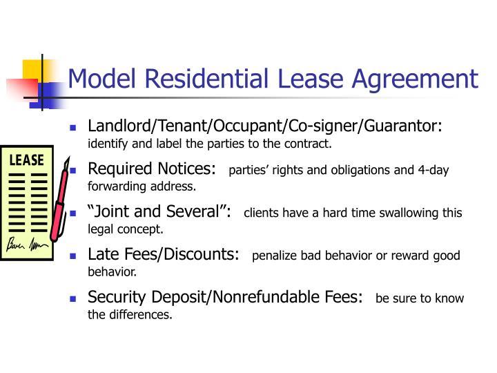 Model Residential Lease Agreement