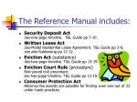 the reference manual includes