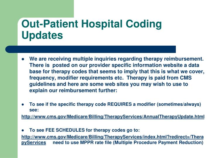 Out-Patient Hospital Coding Updates