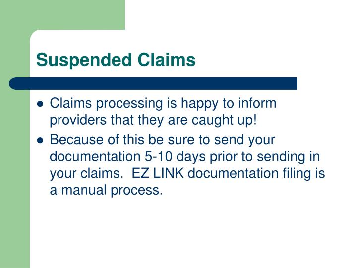 Suspended Claims