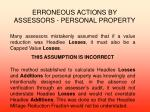 erroneous actions by assessors personal property