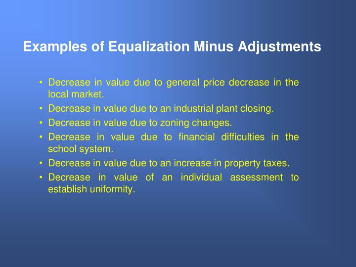 Examples of Equalization Minus Adjustments