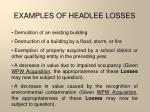 examples of headlee losses