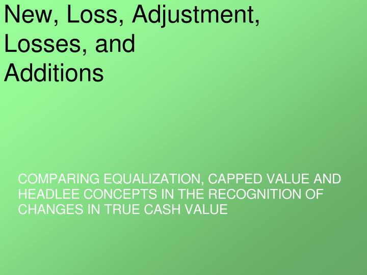 new loss adjustment losses and additions