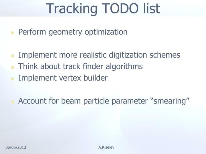 Tracking TODO list