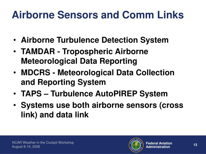 Airborne Sensors and Comm Links