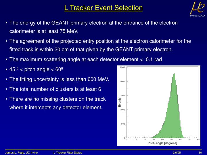 L Tracker Event Selection