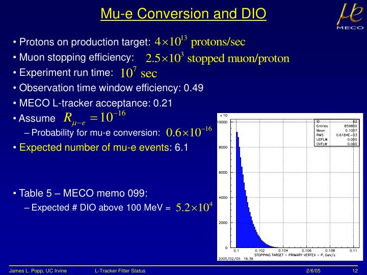 Mu-e Conversion and DIO