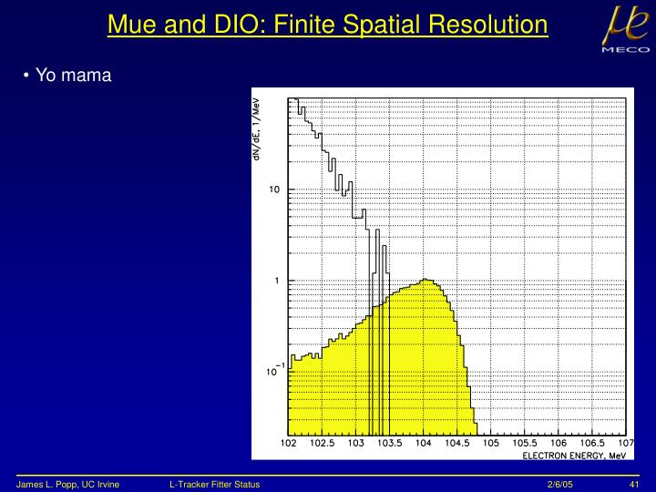 Mue and DIO: Finite Spatial Resolution
