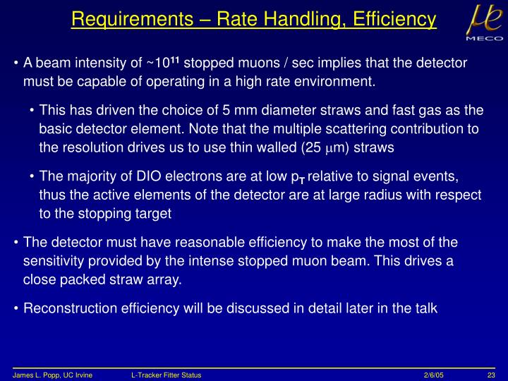 Requirements – Rate Handling, Efficiency