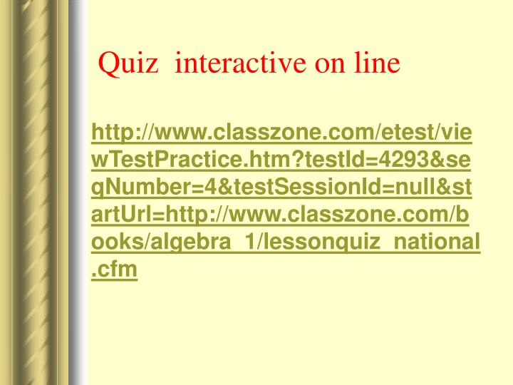 Quiz  interactive on line