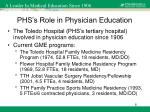 phs s role in physician education