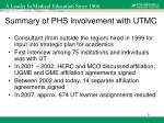 summary of phs involvement with utmc