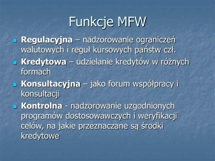 Funkcje MFW